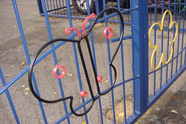 Unique crafted railings at local Stockport primary school, incorporating children's own designs